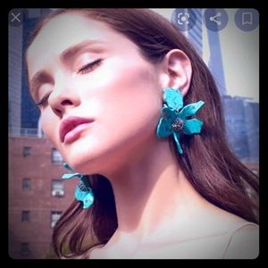 Lele Sadoughi Turquoise Floral Clip-on Earrings